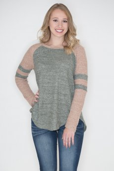 Striped Thermal Raglan Top by Cherish