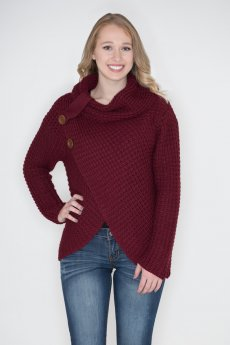 Asymmetrical Wrap Sweater by Zenana