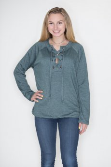 Lace Up Pullover by Cherish