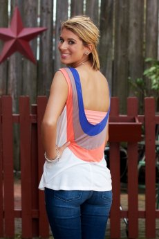 Low Back Contrast Stripe Tank Top by Double Zero