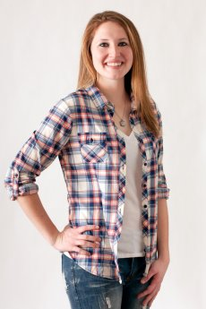 Navy And Coral Plaid Button Down by Passport