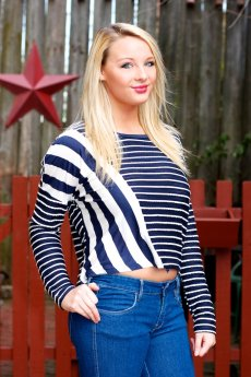 Mixed Stripe Top by Very J