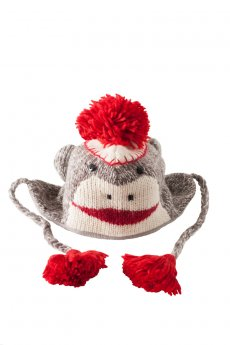 Sock Monkey Pilot Hat by Delux Knitwits