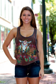 Aztec Bull in Desert Tank Top by The Classic