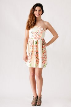 Textured Floral Print Strapless Dress by Ya Los Angeles