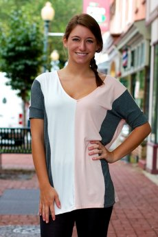 Half Sleeve Color Block Top by Vanilla Bay