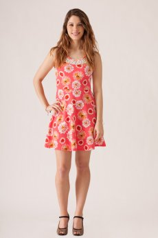 Lace Neckline Floral Print Dress by Stylebook