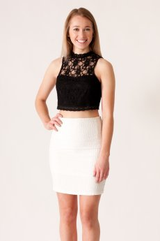 High Neck Lace Crop Top by She and Sky