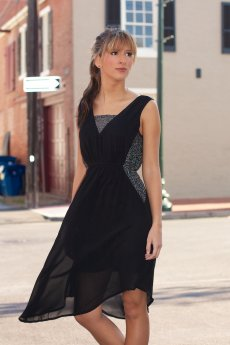 Sleeveless Dress With Contrast Sequin Lace by Ya Los Angeles