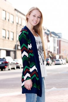 Chevron Print Long Cardigan by Vanilla Bay