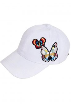 White Butterfly Baseball Cap by C.C.