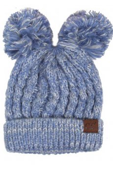 Denim Double Pom Pom Beanie by C.C.