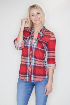 Red And Navy Plaid Button Down by Passport