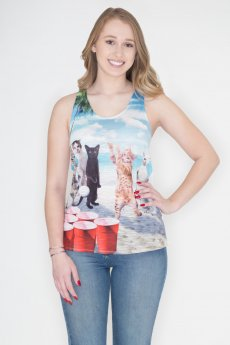 Cat Beer Pong Tank Top by Bear Dance