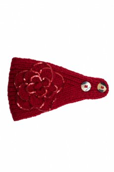 Red Floral Knit Headband by C.C.