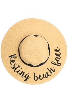 Resting Beach Face Straw Hat by C.C.