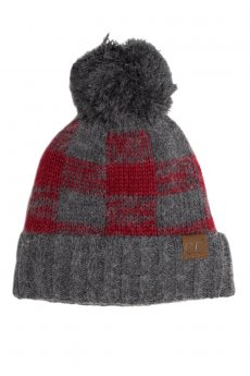 Grey Buffalo Check Pom Beanie by C.C.