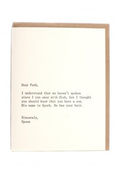 Dear Fork Card by Sapling Press