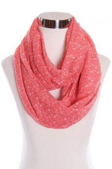 Pink Floral Print Infinity Scarf by Papillon