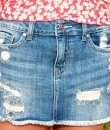 Cut-off destroyed denim skirt by Just USA.