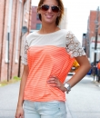 Crochet Sleeve Striped Top by Umgee USA