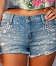 Rhinestone Destroyed Denim Shorts by leshop