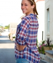 Sheer Plaid Button Down by Lumiere