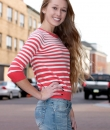 Three Quarter Sleeve Striped Boatneck Sweater by Timing